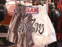 Han Muay Thai Shorts - White/Gray